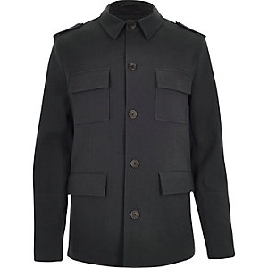 Dark blue four pocket military coat
