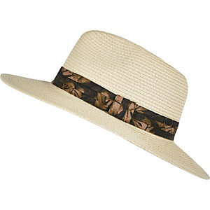 Brown floral trim fedora hat