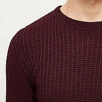 Dark red ribbed crew neck slim fit sweater