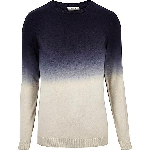 Navy faded dip dye print jumper