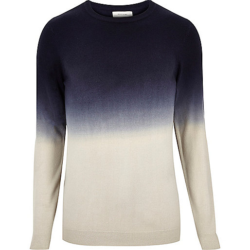 Navy faded dip dye print sweater