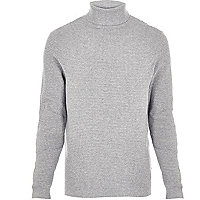 Light grey textured roll neck jumper