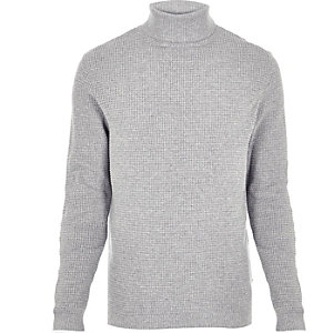 Light grey textured roll neck sweater