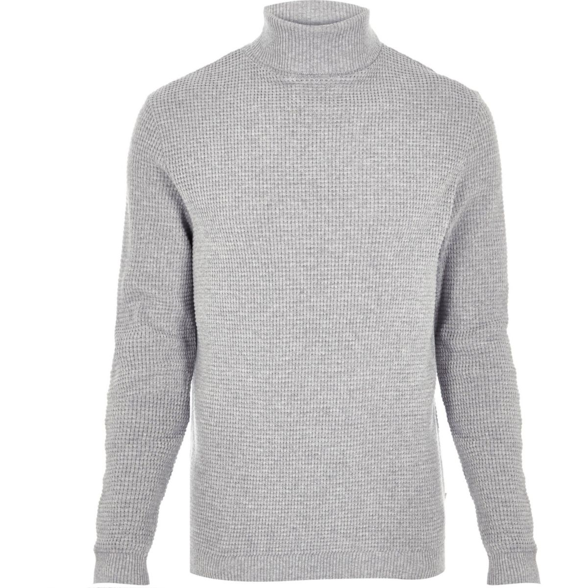 Light grey textured roll neck sweater