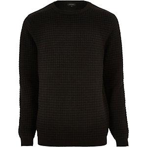 Black textured knitted crew neck jumper