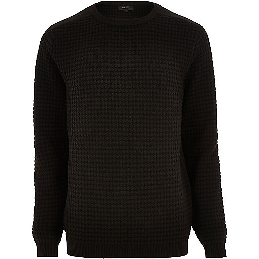 Black textured knitted crew neck sweater