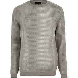 Grey textured knitted crew neck jumper