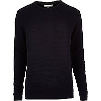 Navy waffle long sleeve sweater