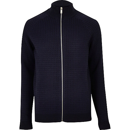 Navy textured zip-up jumper