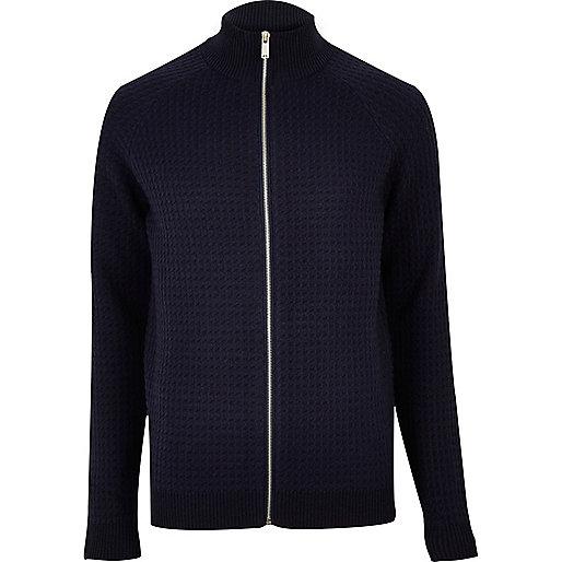Navy textured zip-up sweater