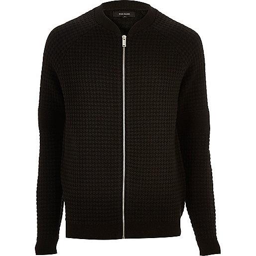 Black zip through cardigan