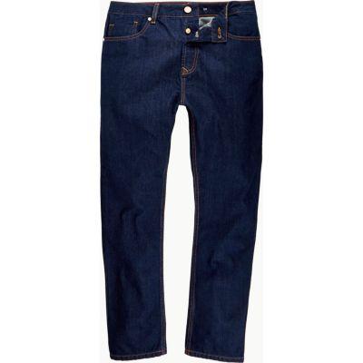 Dark wash smalle jeans met hoge taille