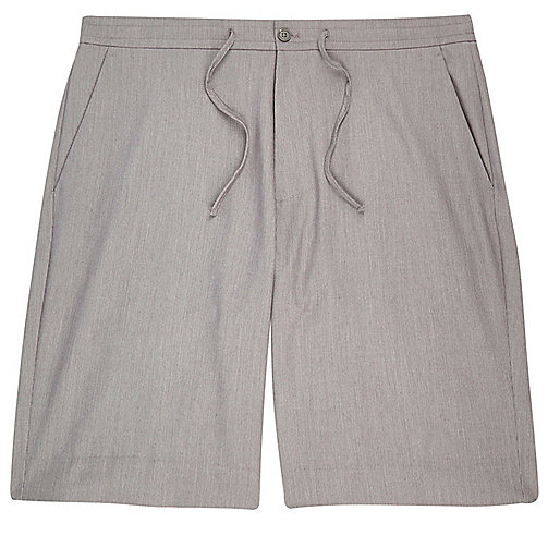 Grey drawstring casual bermuda shorts