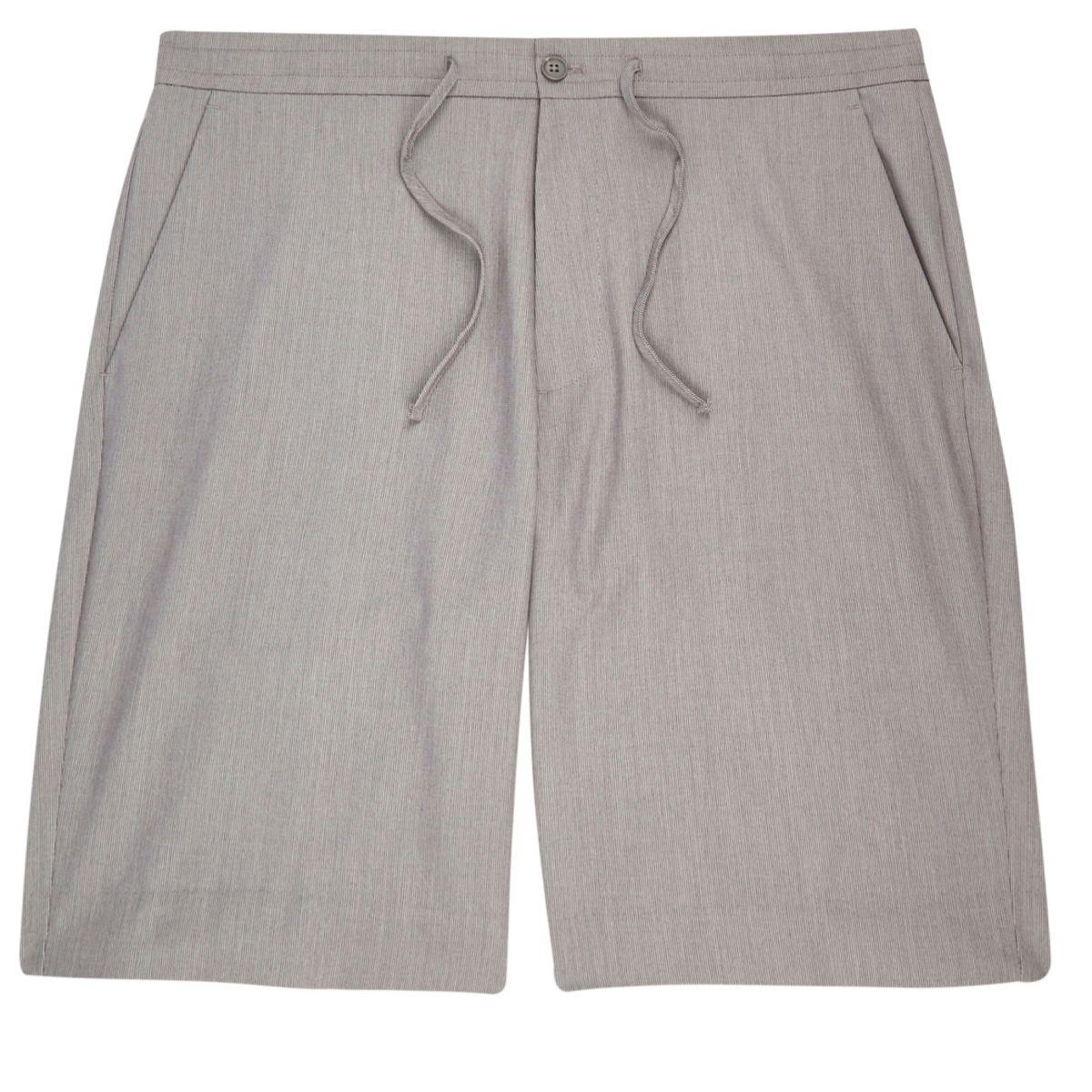 Grey drawstring casual bermuda shorts