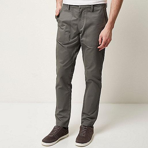 Grey pocket slim pants