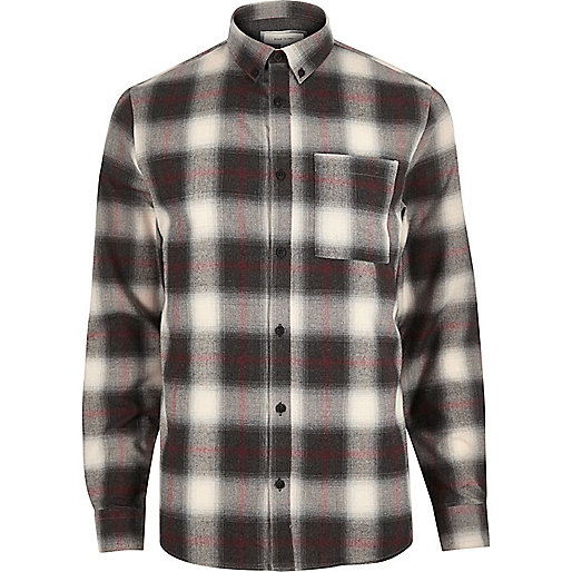 Ecru check flannel shirt