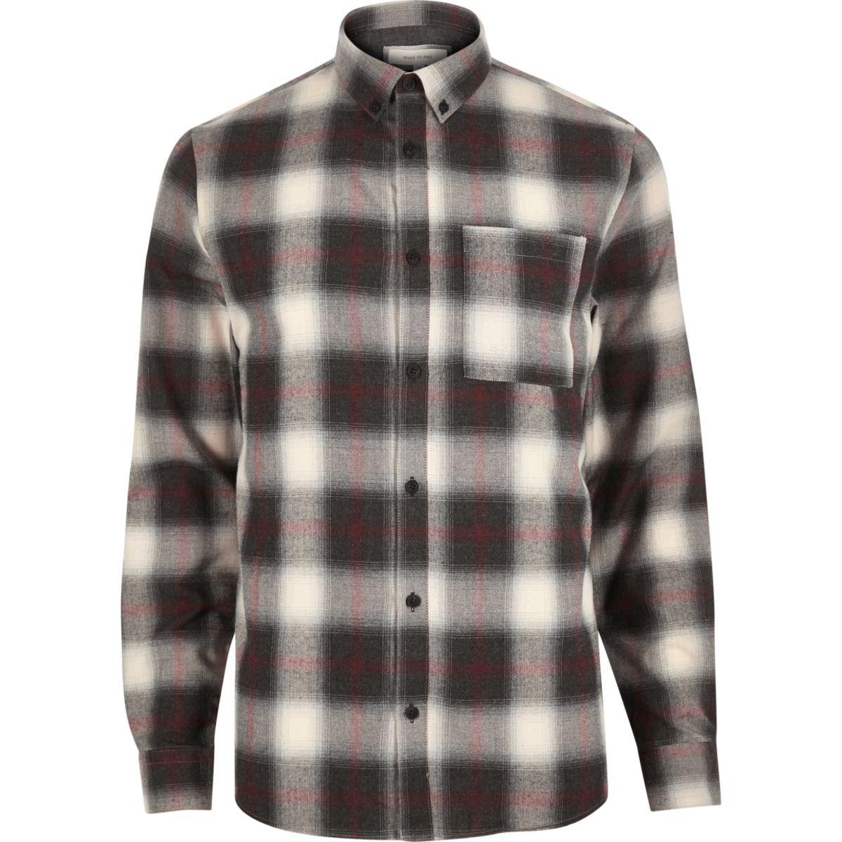 Ecru check flannel shirt