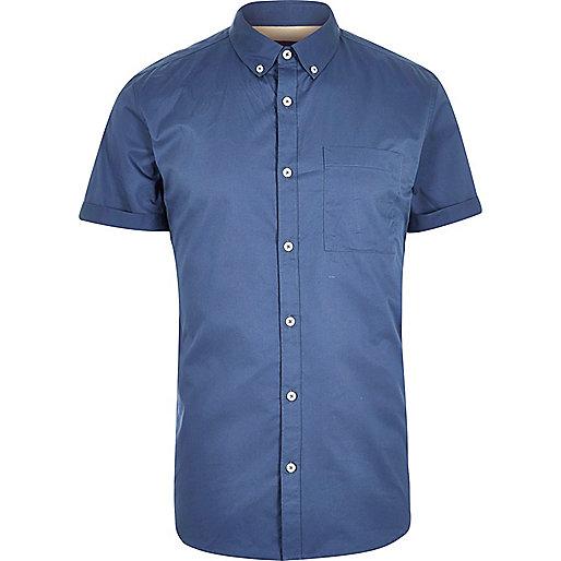 Blue twill short sleeve shirt