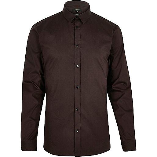 Brown stretch long sleeve slim shirt