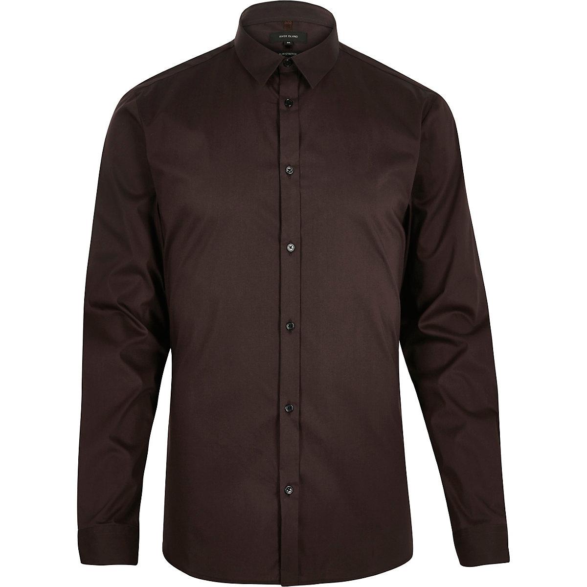 Chemise en stretch marron à manches longues coupe cintrée