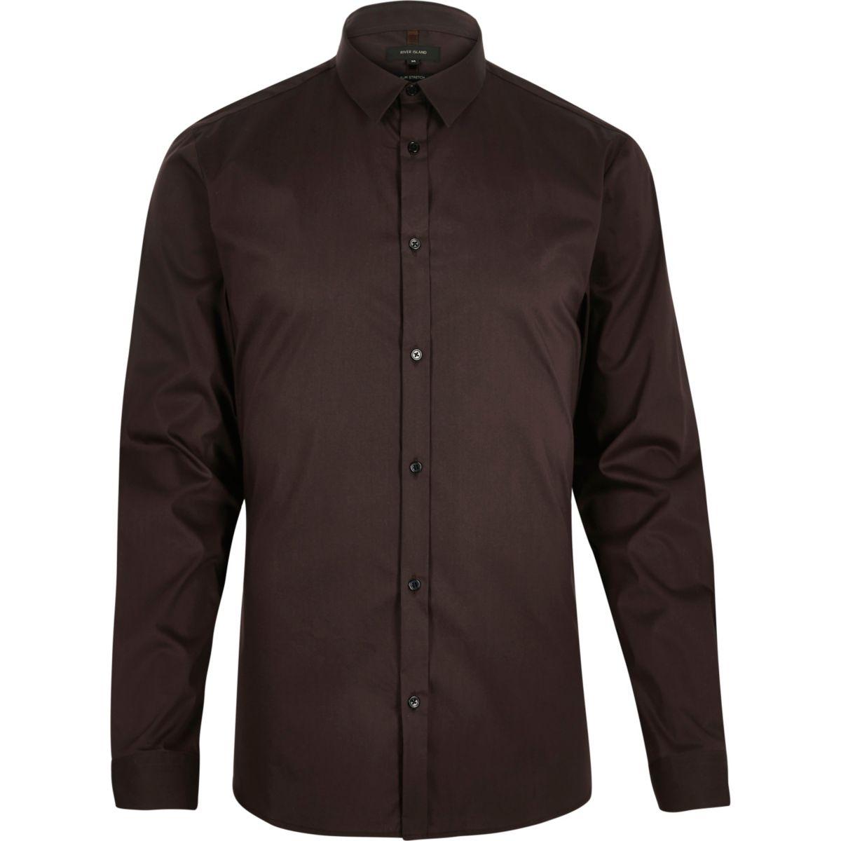 Braunes langärmliges Hemd mit Stretch