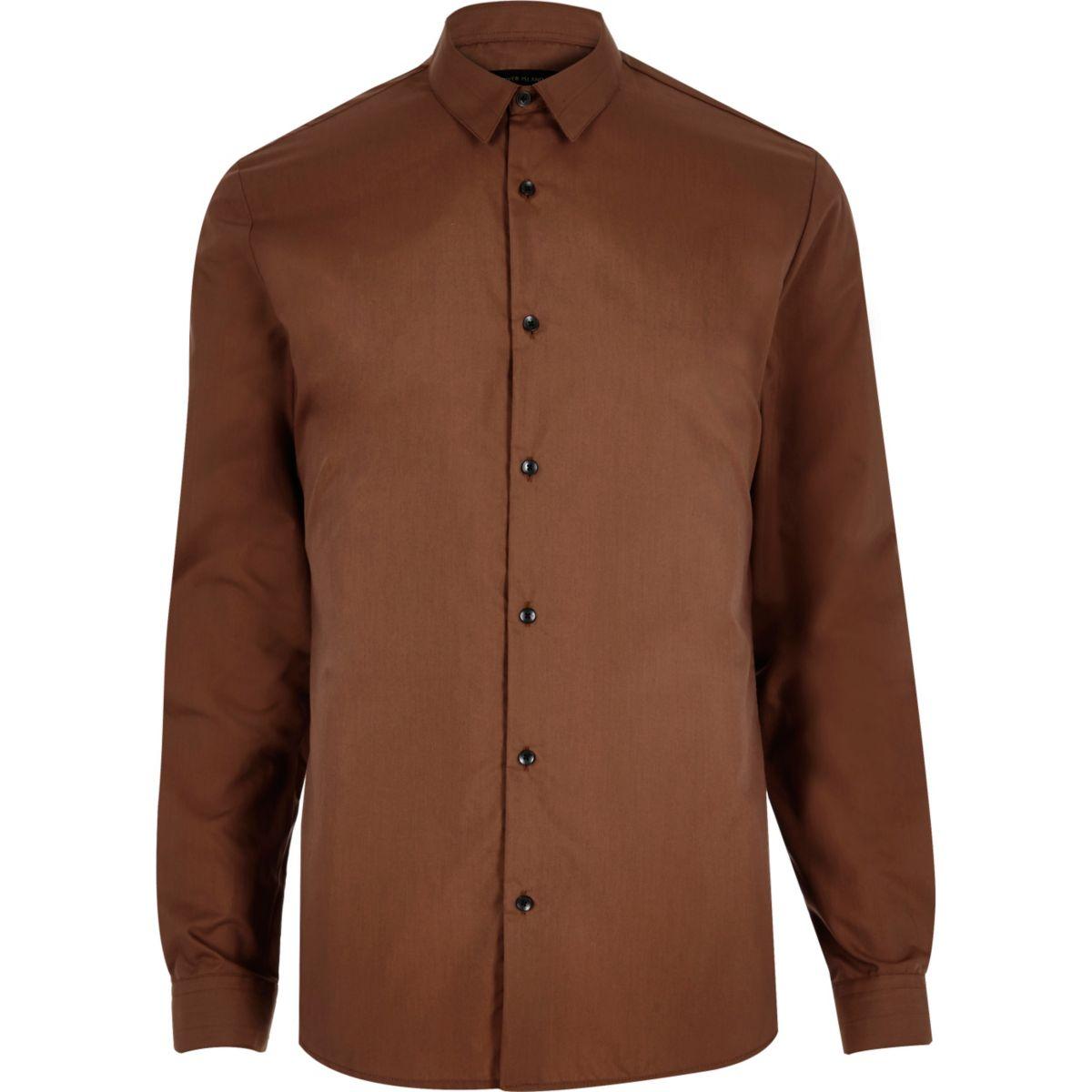 Rust brown stretch slim shirt