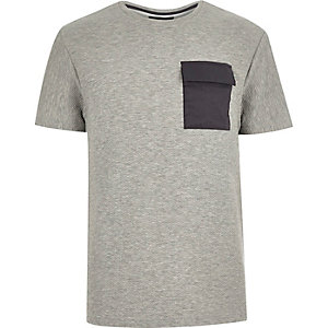 Grey textured pocket t-shirt