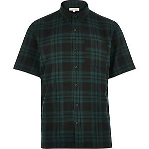 Grün-kariertes Kurzärmeliges Twill-Hemd