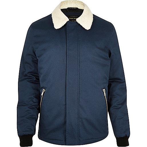 Navy fleece coach jacket