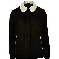 Black fleece coach jacket
