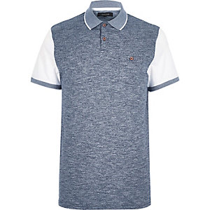 Blue texture front polo shirt