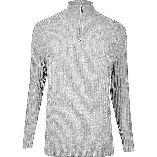 Light grey ribbed zip neck slim fit jumper