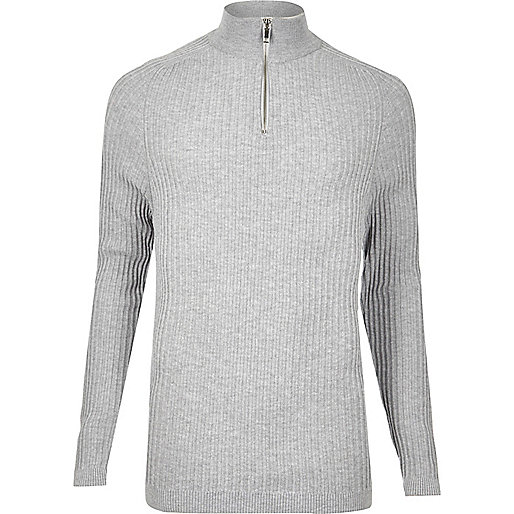 Light grey ribbed zip neck slim fit sweater