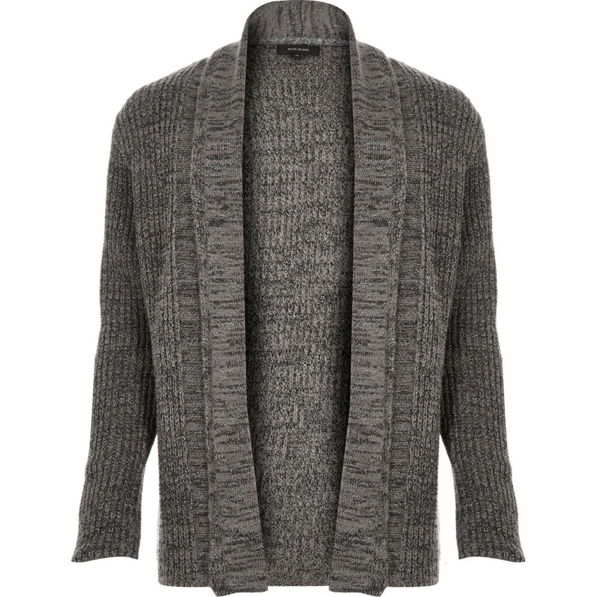 Grey textured open front cardigan