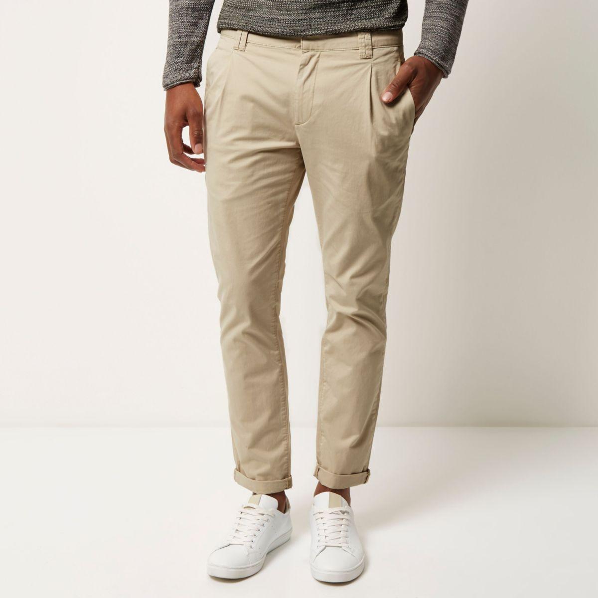 Light brown slim pleated trousers