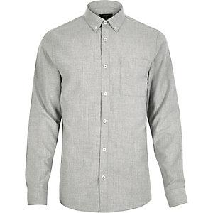 Light grey flannel slim shirt