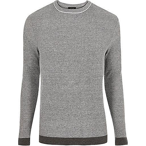 Dark grey ribbed crew neck slim fit jumper