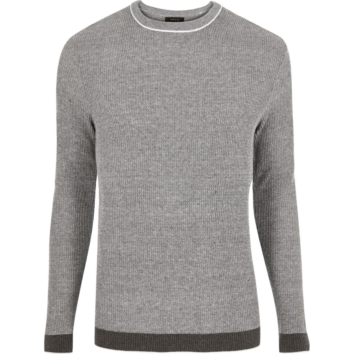 Dark grey ribbed crew neck slim fit sweater