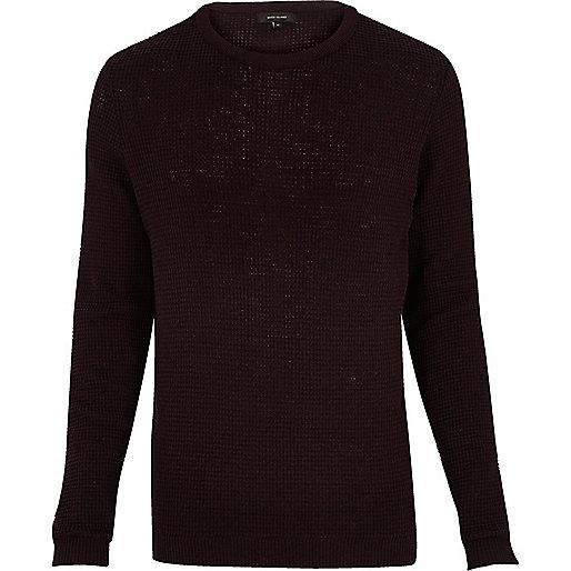Dark purple waffle long sleeve sweater