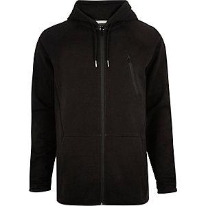 Black seamed zip hoodie