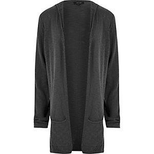 Grey lightweight hooded cardigan