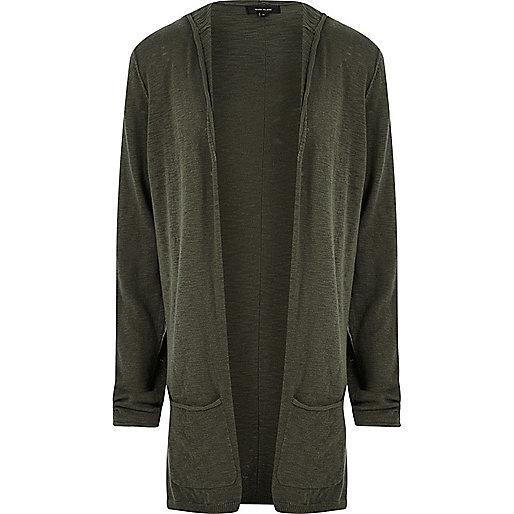 Khaki lightweight hooded cardigan
