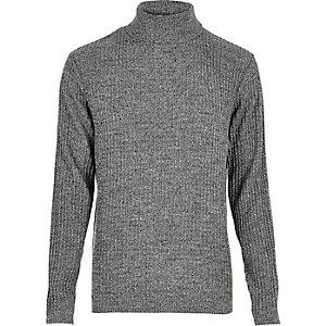 Dark grey ribbed roll neck slim fit sweater