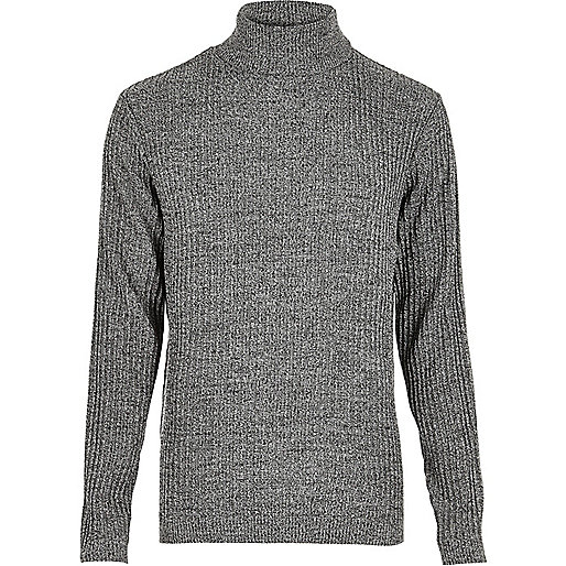Dark grey ribbed roll neck slim fit jumper