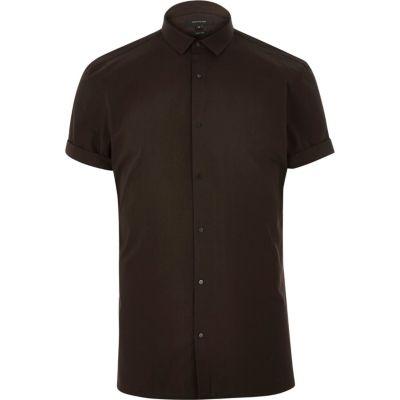 Bruin overhemd met korte mouwen en drukknopen