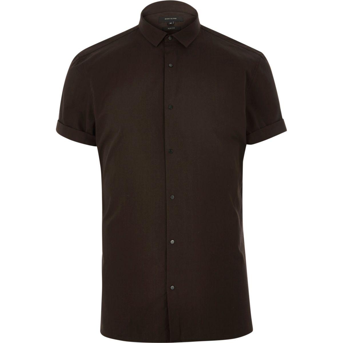 Brown short sleeve popper shirt