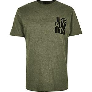 Khaki reality print t-shirt