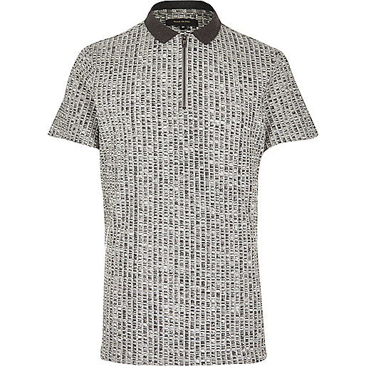 Grey chunky zip-up polo shirt