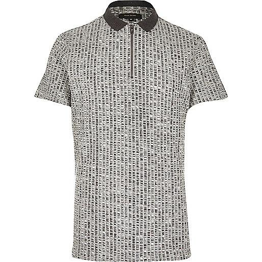 Grey chunky zip-up polo shirt