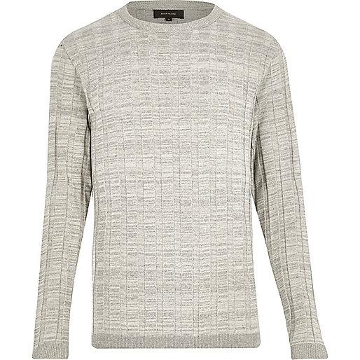 Light grey wide ribbed slim fit jumper